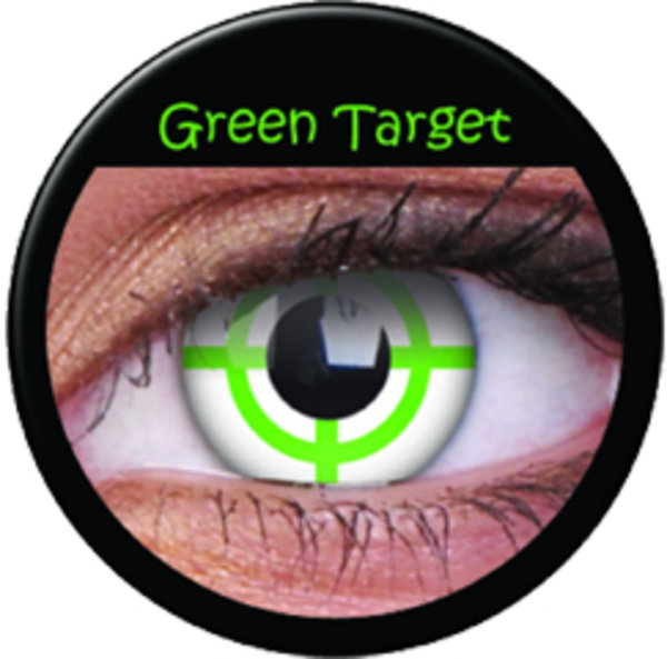 ColourVue Crazy šošovky - Green Target (2 ks ročné) - nedioptrické