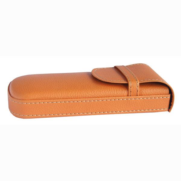 Puzdro na okuliare pevné kožené Frank - oranžove