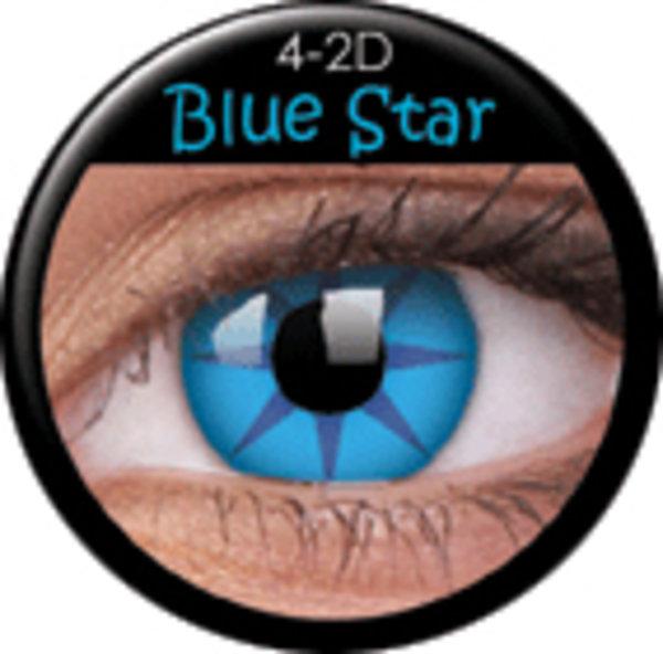 ColourVue Crazy šošovky - Blue Star (2 ks trojmesačné) - dioptrické