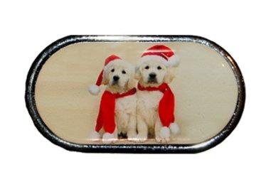 Púzdro so zrkadielkom Vianočný motív - Dve šteniatka
