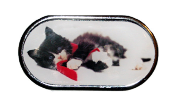 Púzdro so zrkadielkom Vianočný motív - Mačiatko ležiace v šále