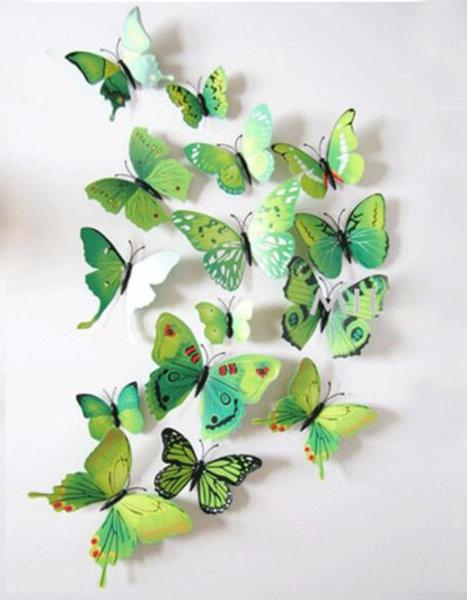 Dekoratívne motýle na stenu 3 kusy - farba zelená