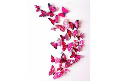Dekoratívne motýle na stenu 3 kusy - farba ružová